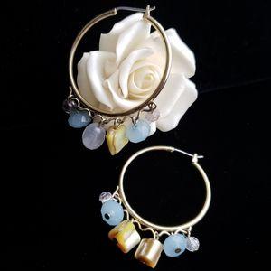 Gold Tone Hoop Earrings Multicolor Pastel Beads